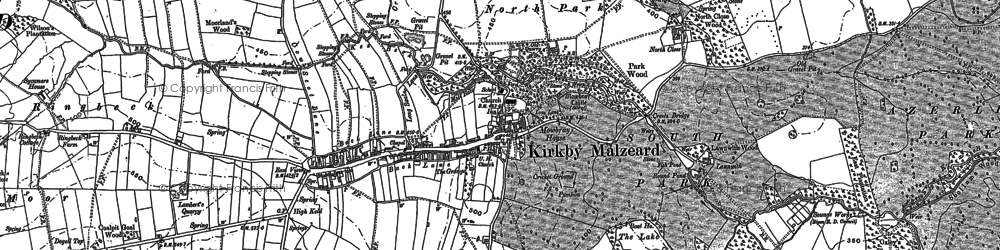 Old map of Kirkby Malzeard in 1890