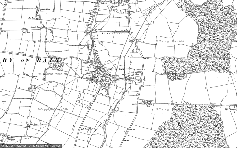 Old Map of Historic Map covering Toft Hill in 1887