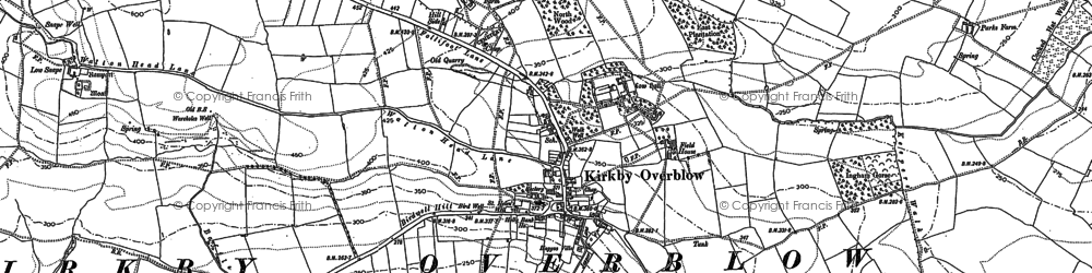 Old map of Kirkby Overblow in 1888