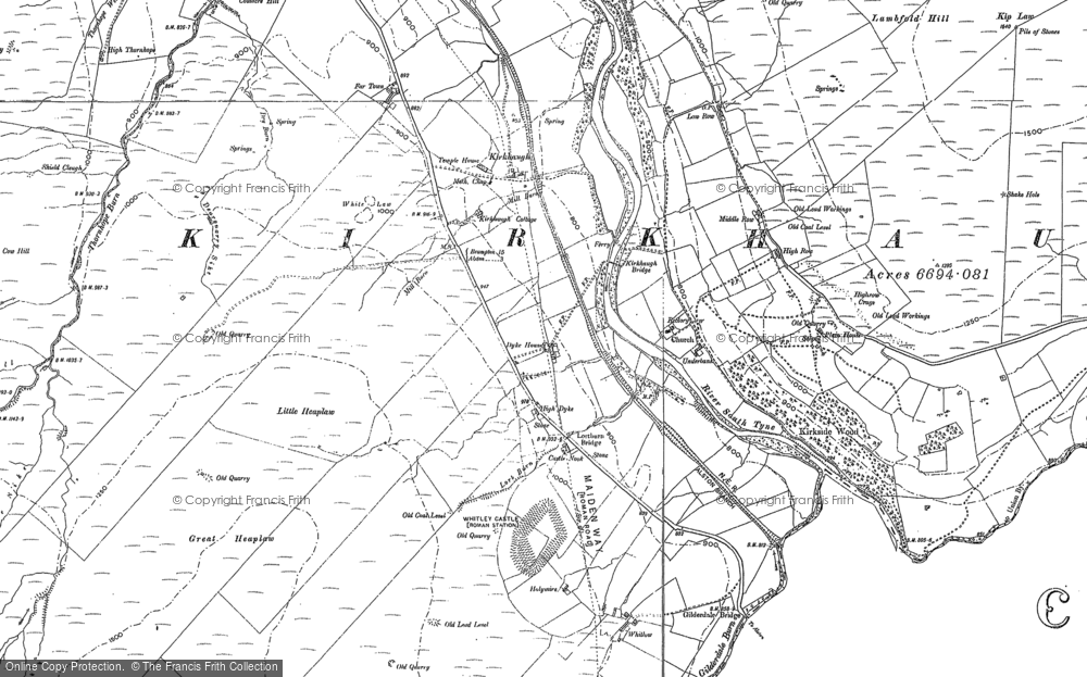 Old Map of Historic Map covering Ayle Burn in 1895
