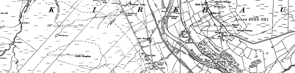 Old map of Whitley Castle (Roman Fort) in 1895