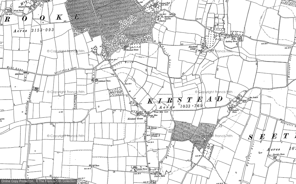 Old Map of Kirstead Green, 1884 in 1884