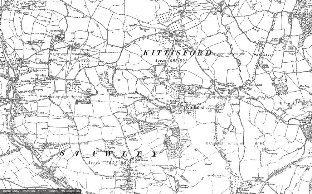 Old Map of Historic Map covering Appley in 1887