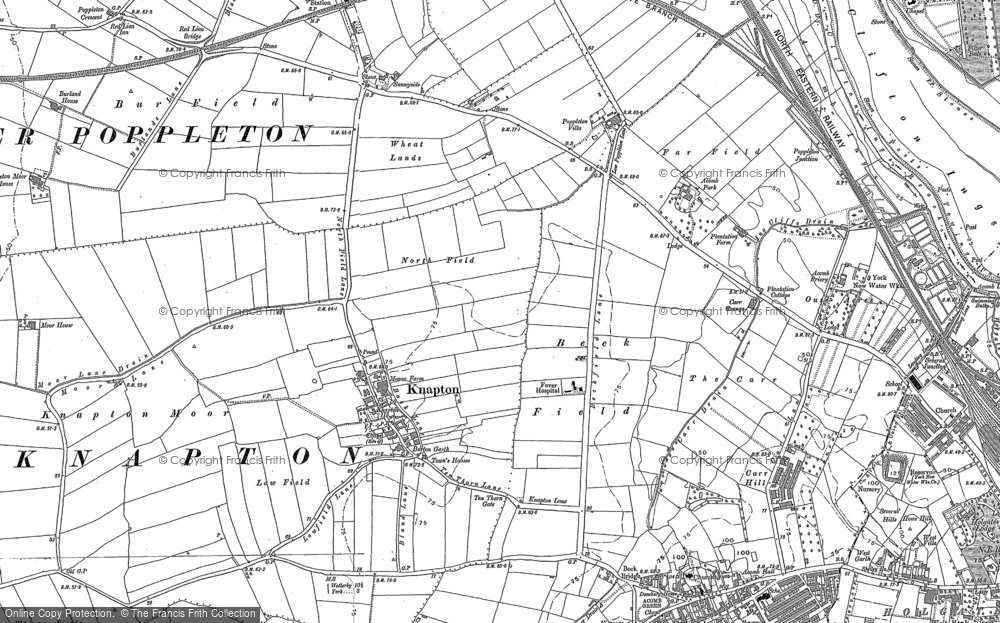 Old Map of Historic Map covering Chapel Fields in 1890