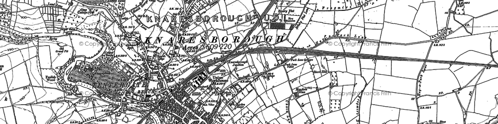 Old map of Knaresborough in 1849