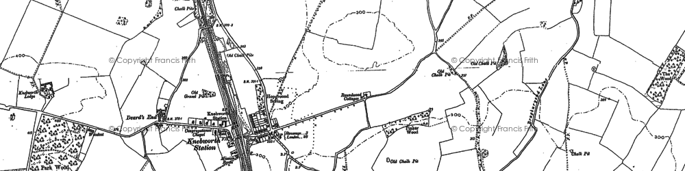 Old map of Knebworth in 1897
