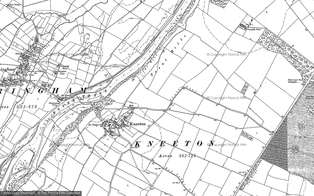 Old Map of Historic Map covering Toot Hill in 1883