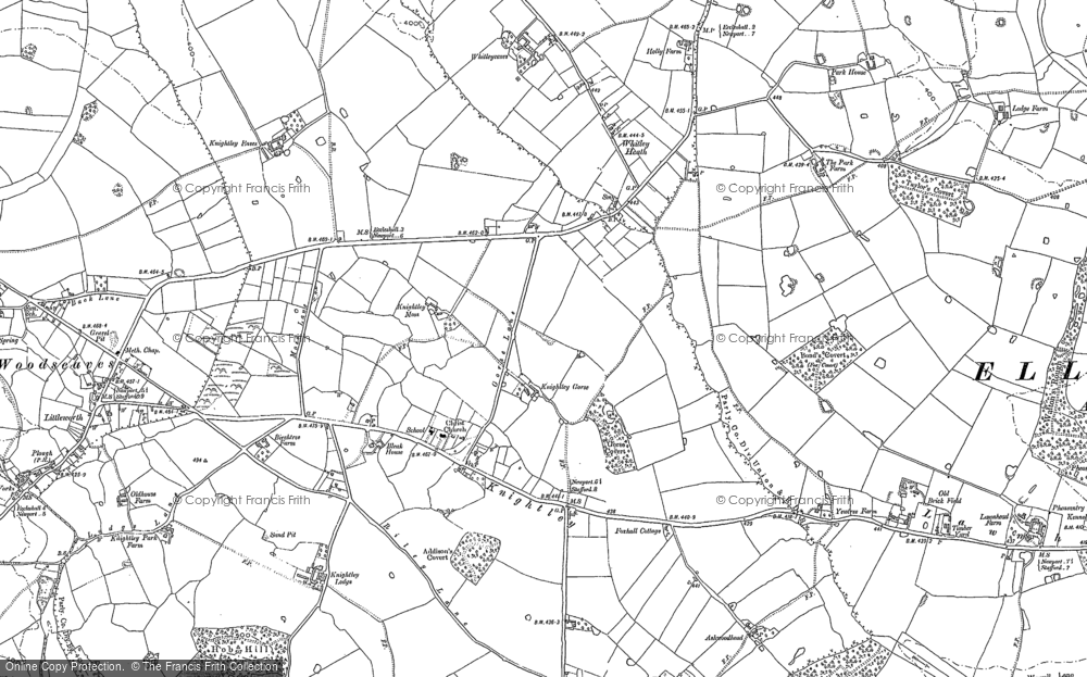 Old Map of Historic Map covering Whitley Heath in 1880