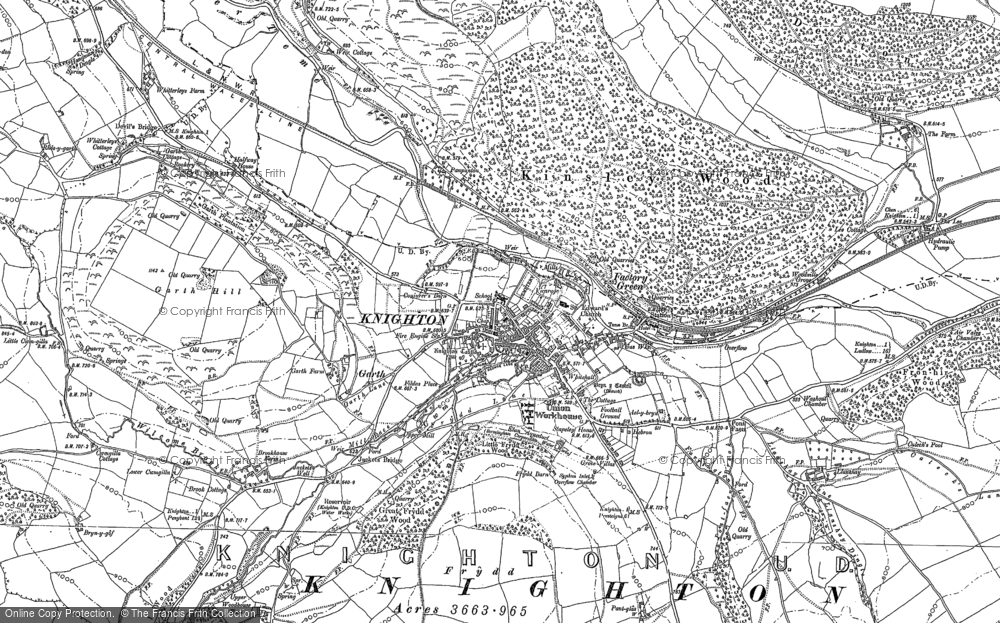 Old Map of Knighton, 1887 - 1902 in 1887