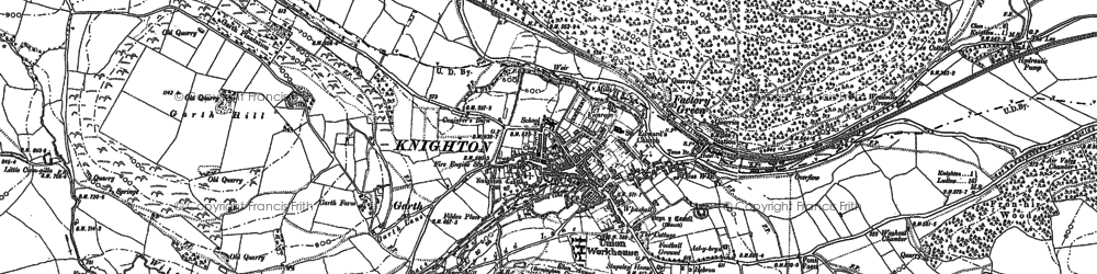 Old map of Knighton in 1887