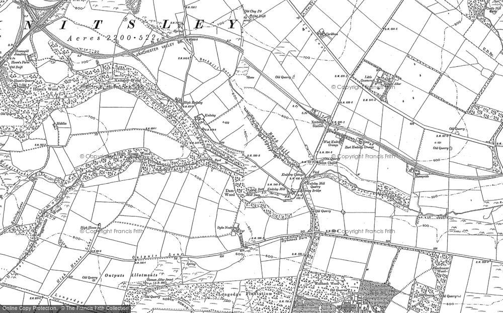 Old Map of Historic Map covering Woodlands Hall in 1895