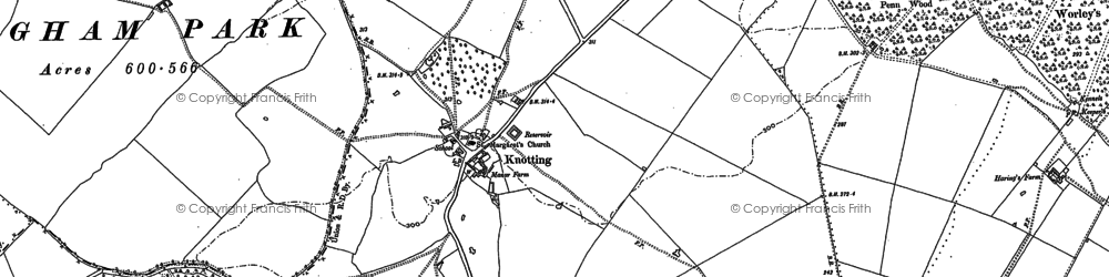 Old map of Yelden Wold in 1882