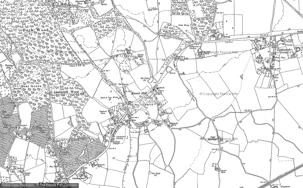 Old Map of Historic Map covering Ashley Hill Forest in 1910