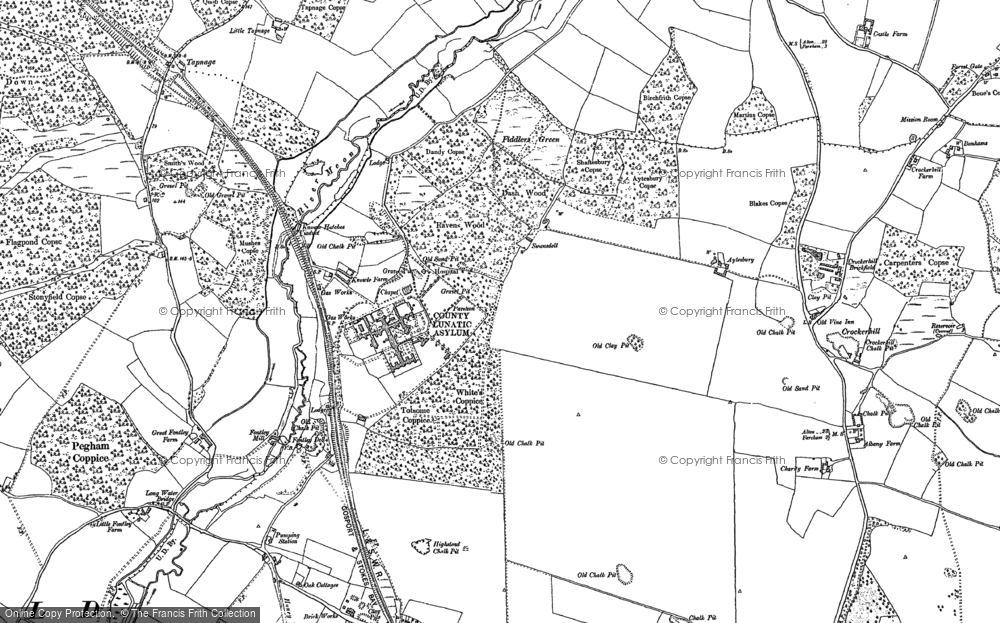 Old Map of Historic Map covering Lee Ground in 1895