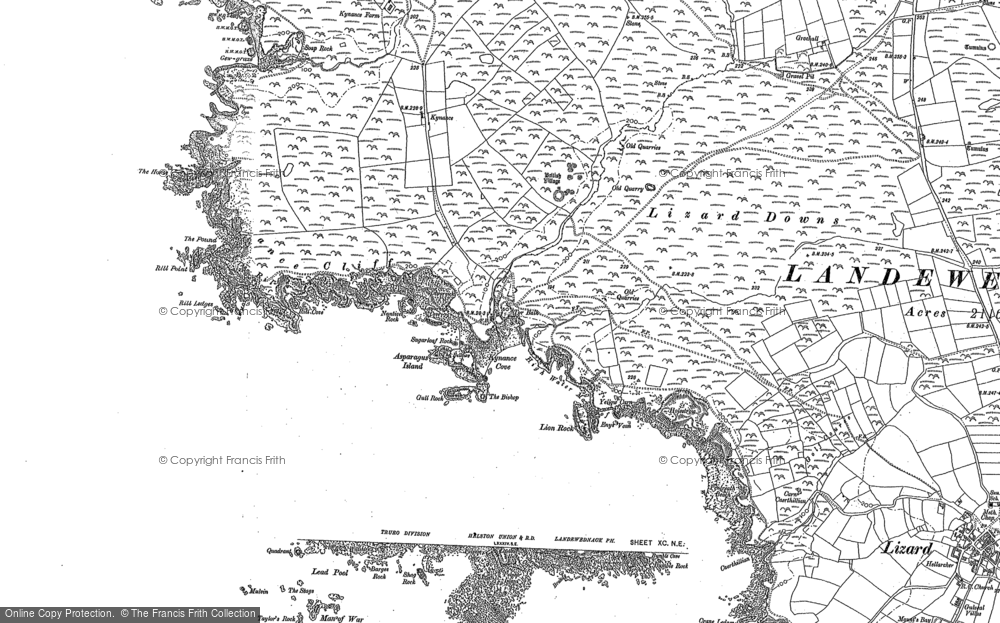 Old Map of Historic Map covering Asparagus Island in 1878