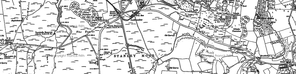 Old map of Axe Edge Moor in 1879
