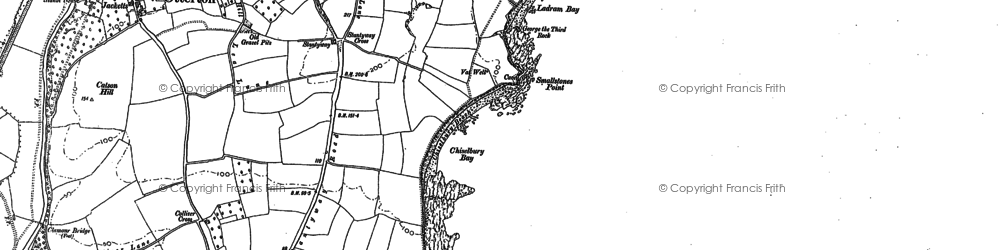 Old map of Ladram Bay in 1888