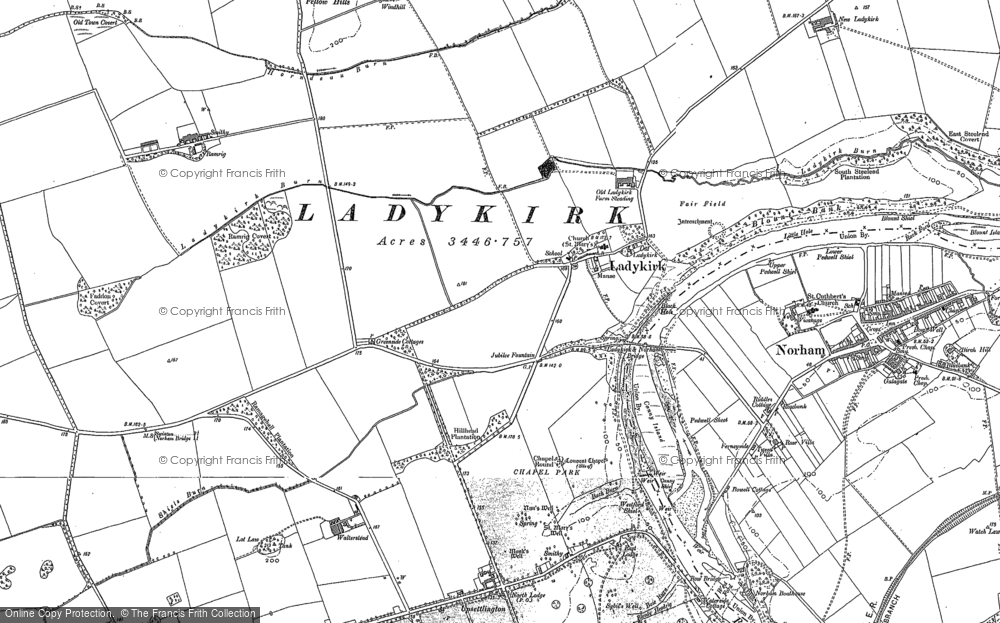 Old Map of Historic Map covering Whitsomehill in 1897