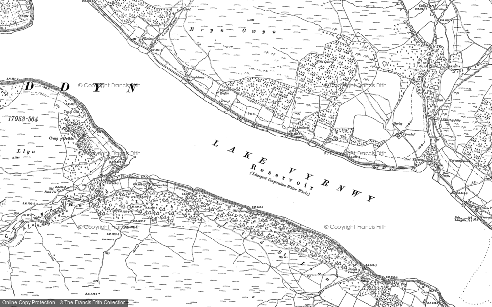 Old Map of Historic Map covering Allt y Gribin in 1885