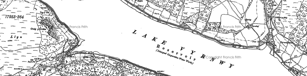 Old map of Lake Vyrnwy in 1885
