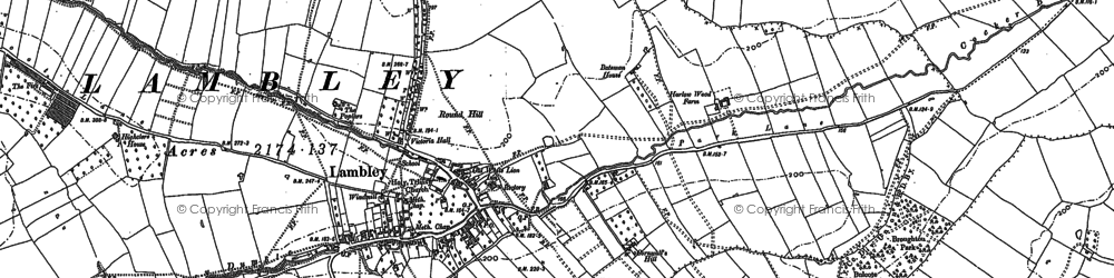 Old map of Lambley in 1883