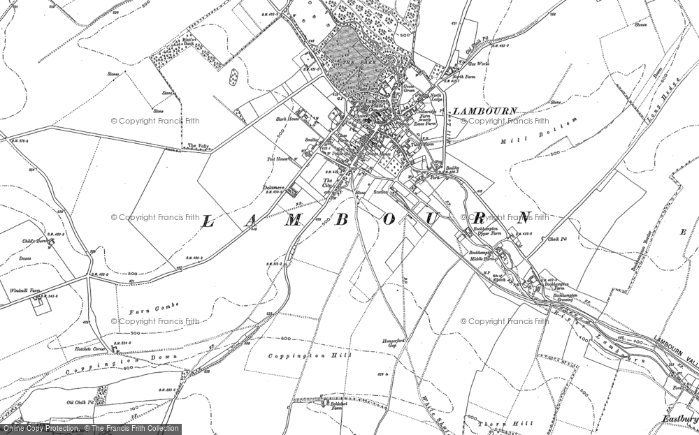 Map of Lambourn, 1910