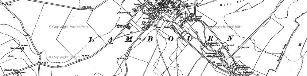 Old map of Lambourn in 1910