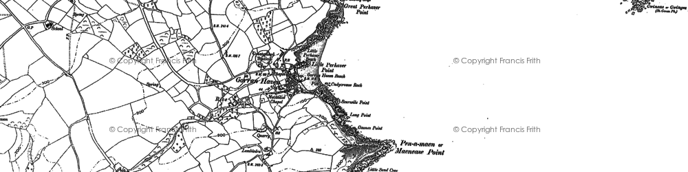 Old map of Maenease Point in 1879