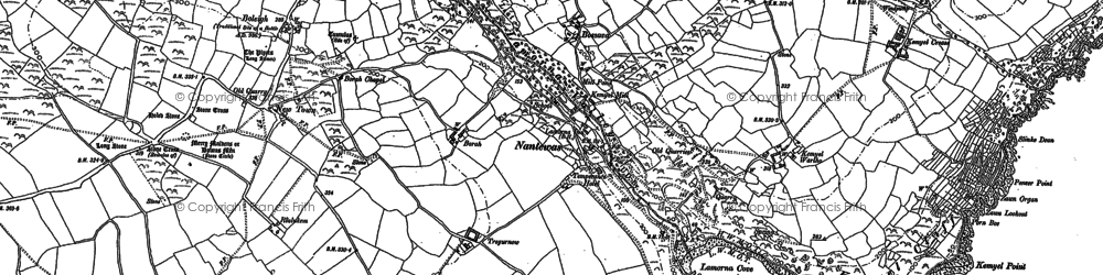 Old map of Lamorna in 1906
