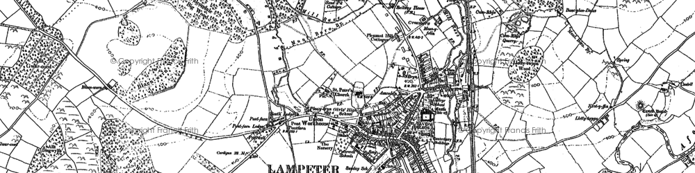 Old map of Lampeter in 1887