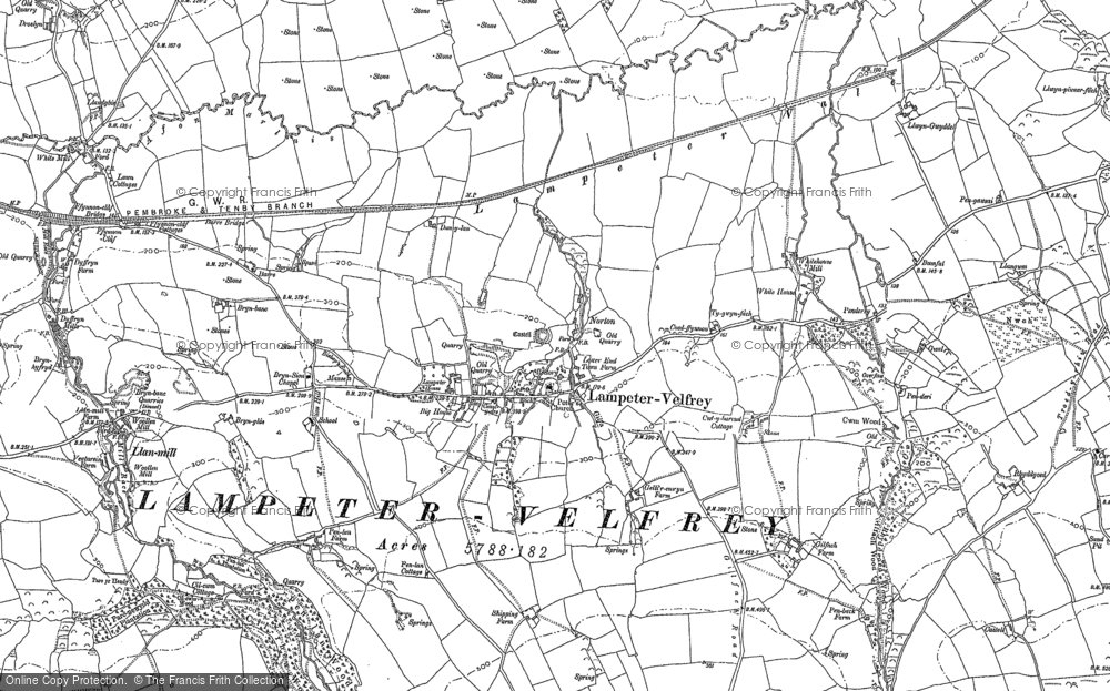 Old Map of Historic Map covering Afon Marlais in 1887