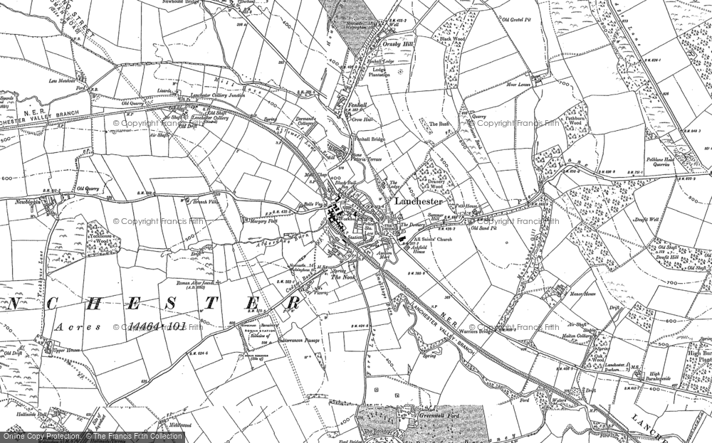 Old Map of Historic Map covering Alderdene Burn in 1895