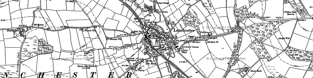 Old map of Alderdene Burn in 1895