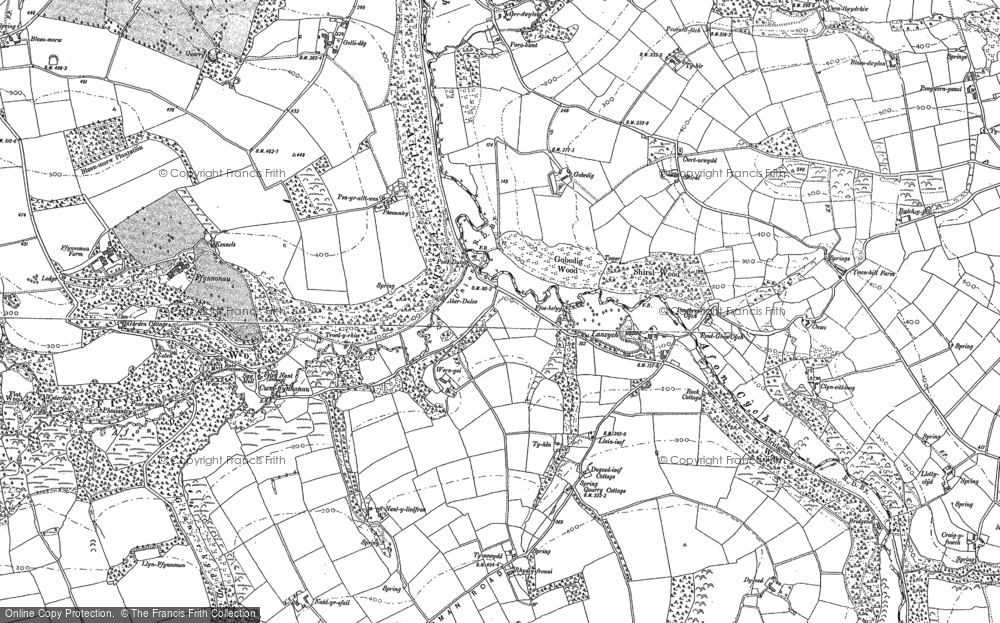 Old Map of Historic Map covering Afon Cych in 1887