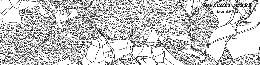 Old map of Whiteparish Common in 1895