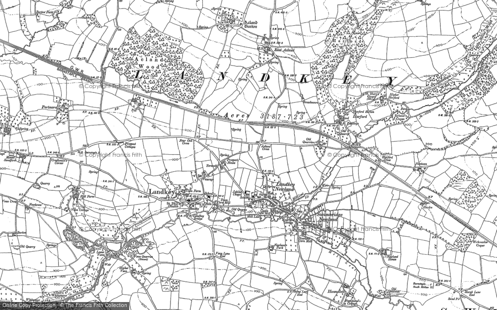 Old Map of Historic Map covering Acland Barton in 1885