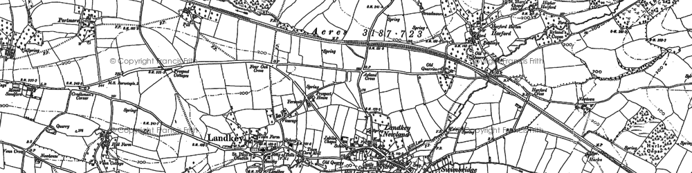 Old map of Acland Barton in 1885
