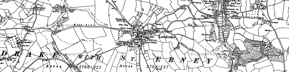 Old map of Landrake in 1865