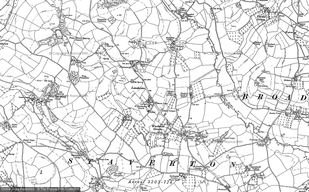 Old Map of Historic Map covering Barkingdon Manor in 1886