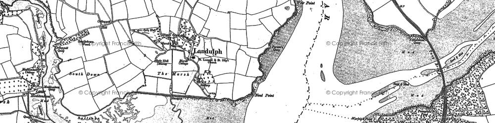 Old map of Landulph in 1865