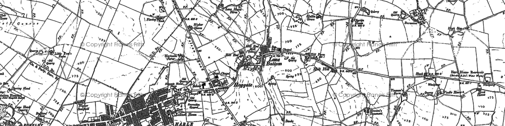 Old map of Thursden Brook in 1891