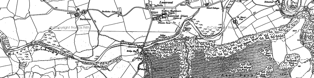 Old map of Lanercost in 1899