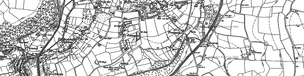 Old map of Lanescot in 1881