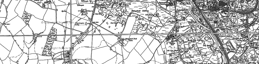 Old map of Lanesfield in 1884