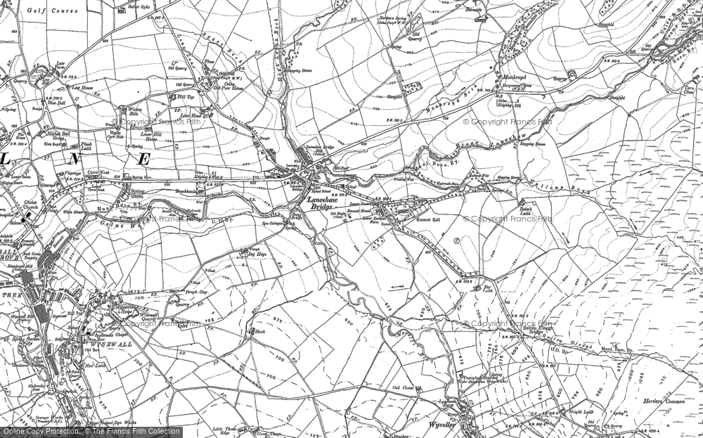 Old Map of Historic Map covering Lane Head in 1907