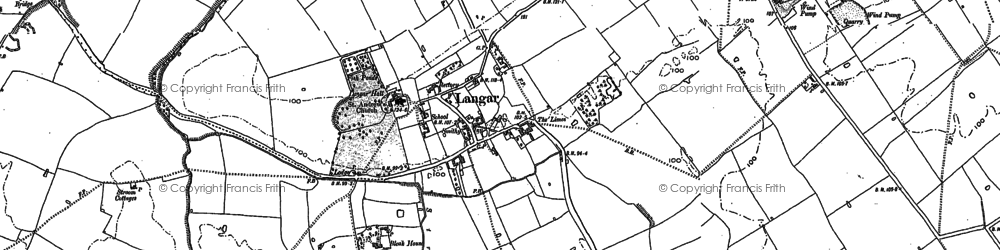 Old map of Langar in 1883