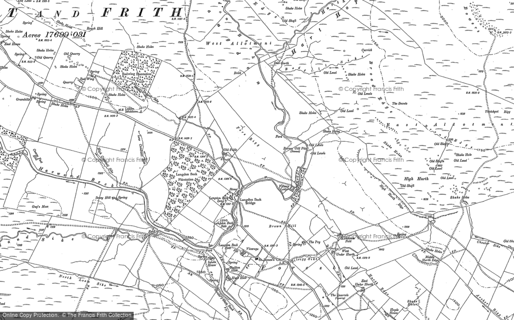 Old Map of Historic Map covering Langdon Common in 1896