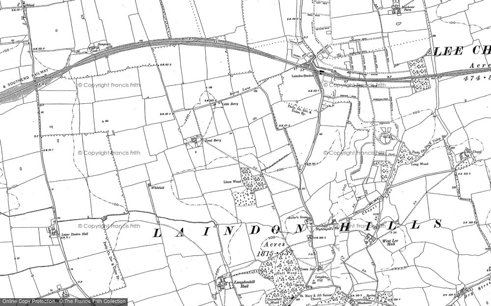 Old Map of Langdon Hills, 1895 in 1895