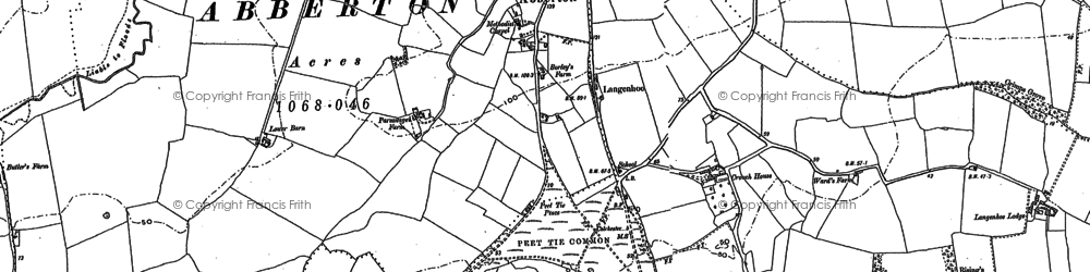 Old map of Langenhoe Hall in 1895