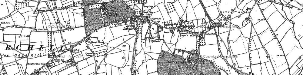 Old map of Langford in 1883